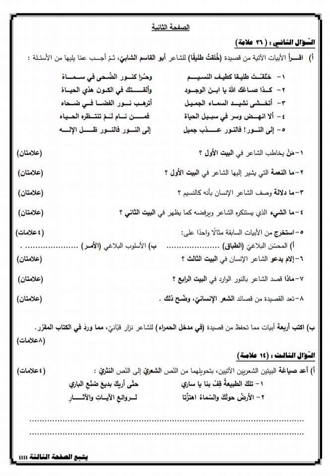 بالصور الاختبار النهائي مادة الغة العربية للصف الثامن الفصل الثاني 2018