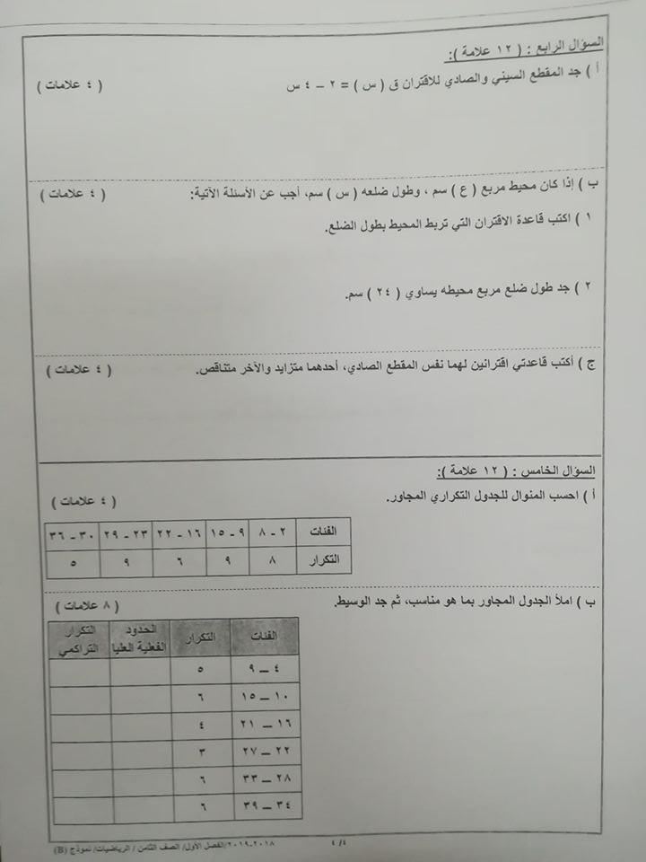 بالصور نموذج B وكالة اختبار الرياضيات النهائي للصف الثامن الفصل الاول 2018
