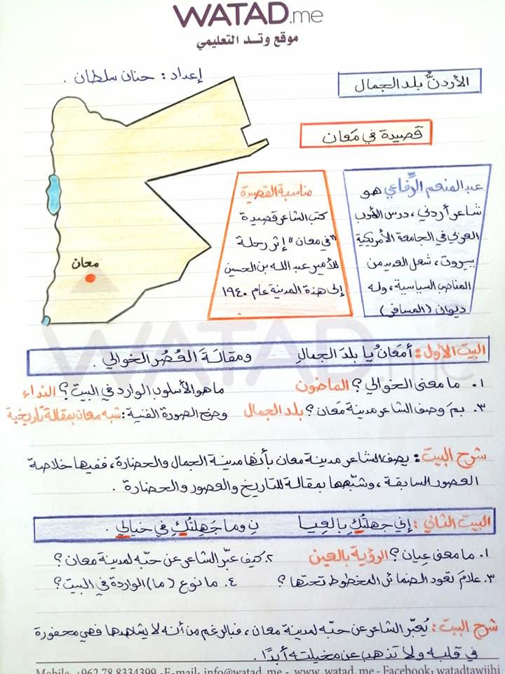 بالصور شرح قصيدة في معان للصف التاسع مادة اللغة العربية الفصل الاول 2020