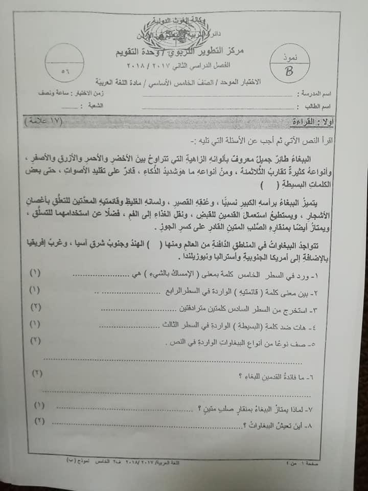 بالصور اختبار وكالة نموذج B مادة اللغة العربية للصف الخامس الفصل الثاني 2018