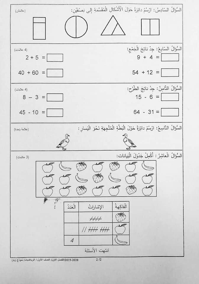 بالصور نموذج A وكالة اختبار الرياضيات النهائي للصف الاول الفصل الاول 2019