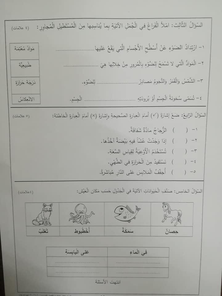 نموذج A وكالة امتحان العلوم النهائي للصف الثاني الفصل الاول 2018