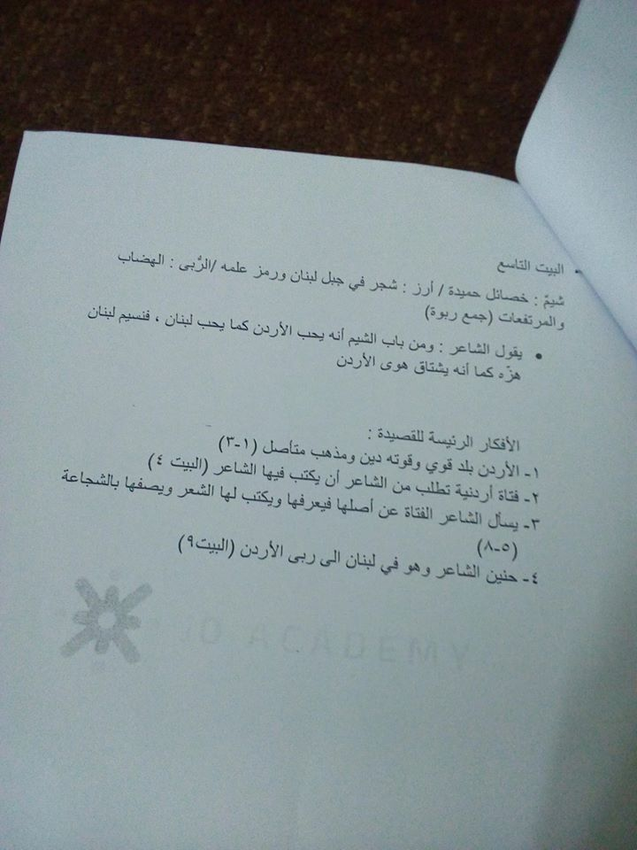 بالصور شرح قصيدة اردن ارض العزم للصف الثامن مادة اللغة العربية الفصل الاول 2018