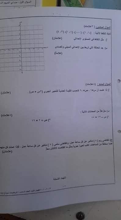 نموذج A وكالة امتحان رياضيات نهائي للصف السادس الفصل الاول 2019