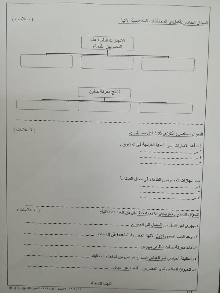 بالصور نموذج B وكالة اختبار التاريخ النهائي للصف التاسع الفصل الاول 2018