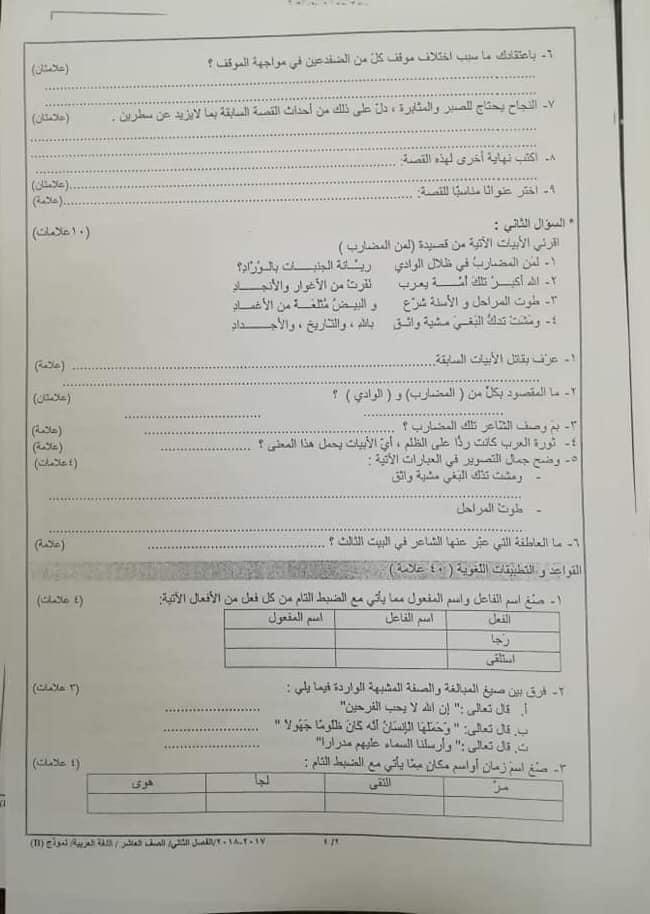 صور امتحان نهائي وكالة نموذج B مادة اللغة العربية للصف العاشر الفصل الثاني 2018