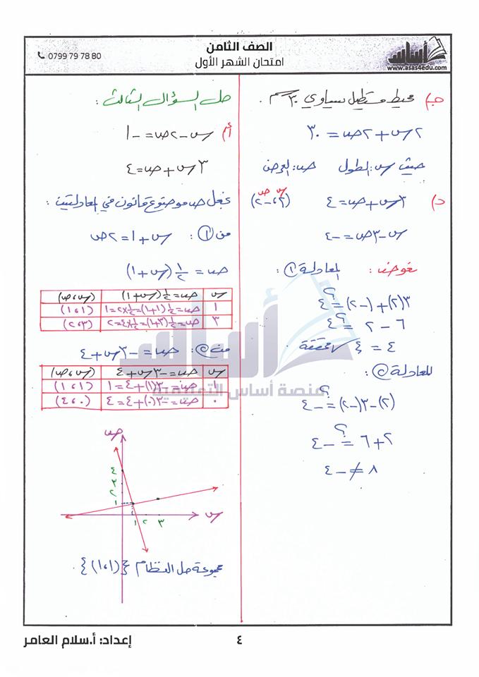 صور اختبار الرياضيات الشهر الاول مع الاجابات للصف الثامن الفصل الثاني 2020