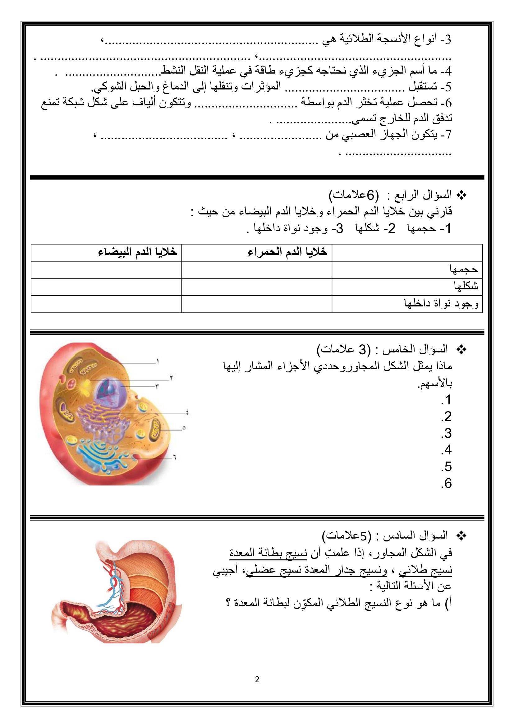امتحان نهائي لمادة الاحياء للصف التاسع الفصل الاول 2018