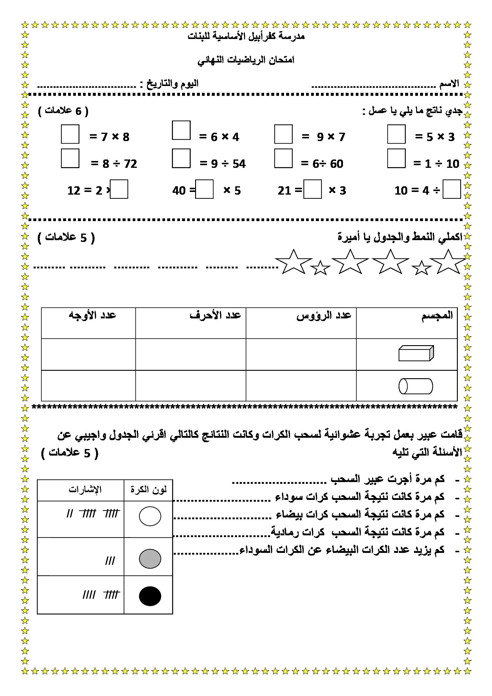 الاختبار النهائي لمادة الرياضيات للصف الثالث الفصل الثاني 2019