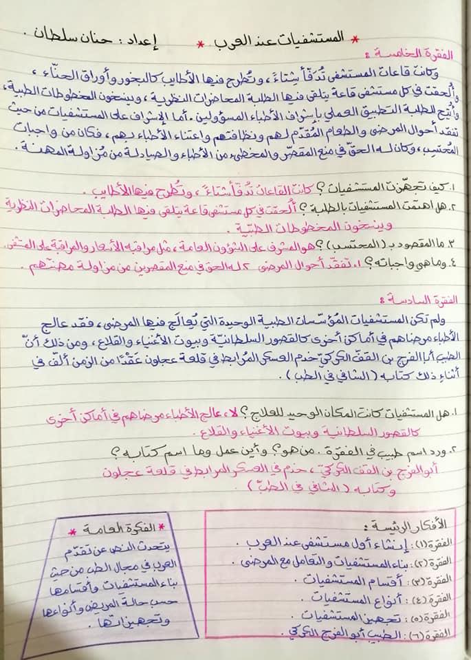 بالصور شرح درس المستشفيات عند العرب مادة اللغة العربية للصف الثامن الفصل الاول 2020