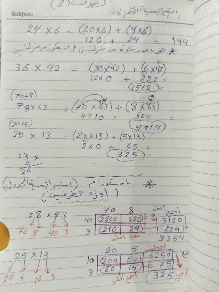 بالصور شرح و حل اسئلة درس الضرب للصف الرابع الفصل الثاني 2020