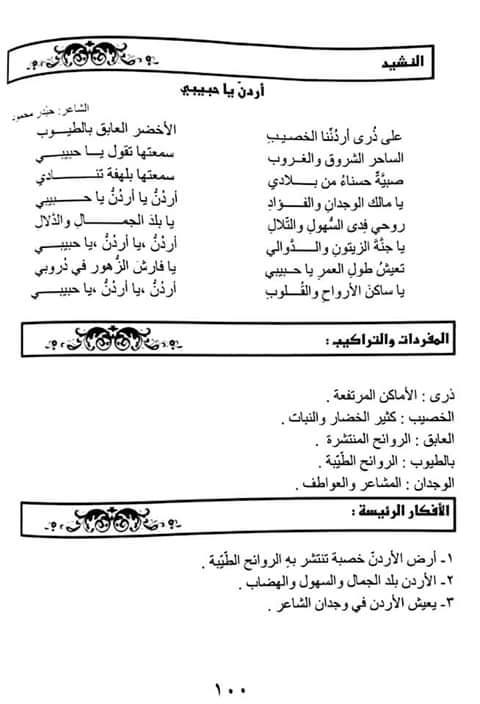 شرح قصيدة اردن يا حبيبي مادة اللغة العربية للصف السادس الفصل الاول 2019