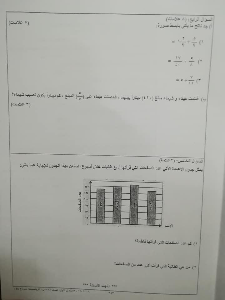 بالصور نموذج B وكالة اختبار الرياضيات النهائي للصف الخامس الفصل الاول 2018