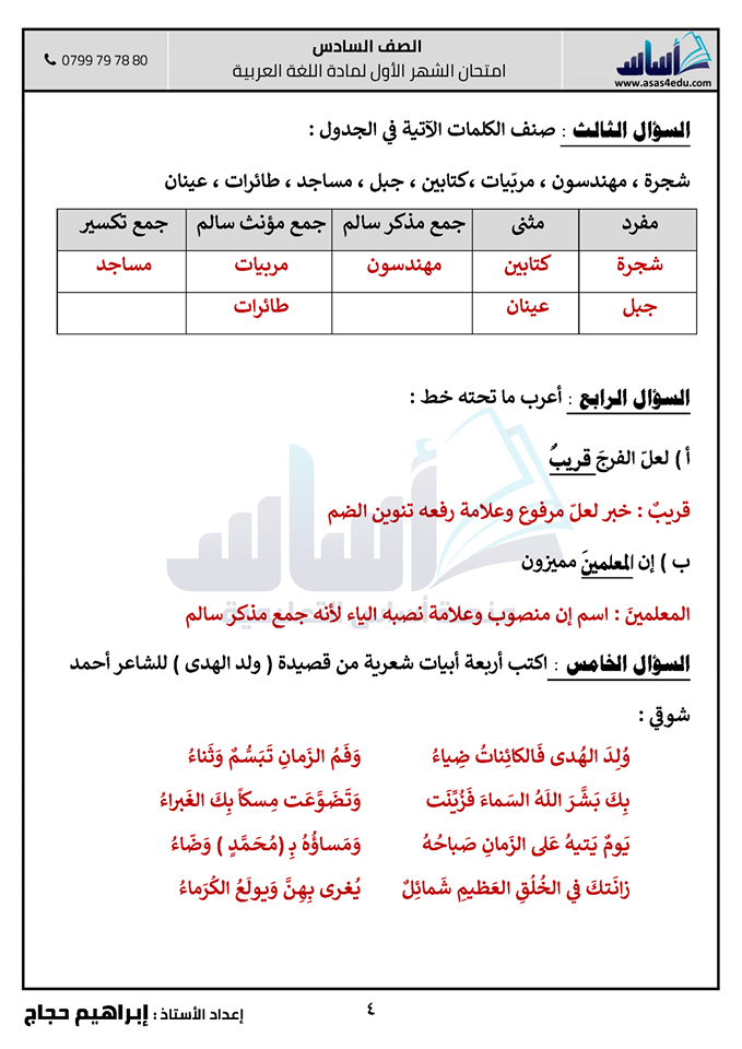 صور امتحان الشهر الاول مادة اللغة العربية للصف السادس الفصل الثاني 2020 مع الاجابات