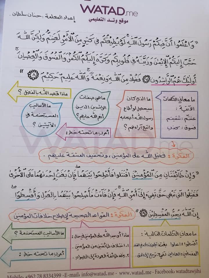 بالصور شرح وحدة مكارم الاخلاق مادة اللغة العربية للصف التاسع الفصل الاول 2020