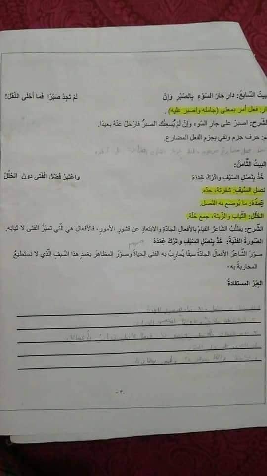 بالصور شرح مختارات من لامية ابن الوردي مادة اللغة العربية للصف السادس الفصل الاول 2018