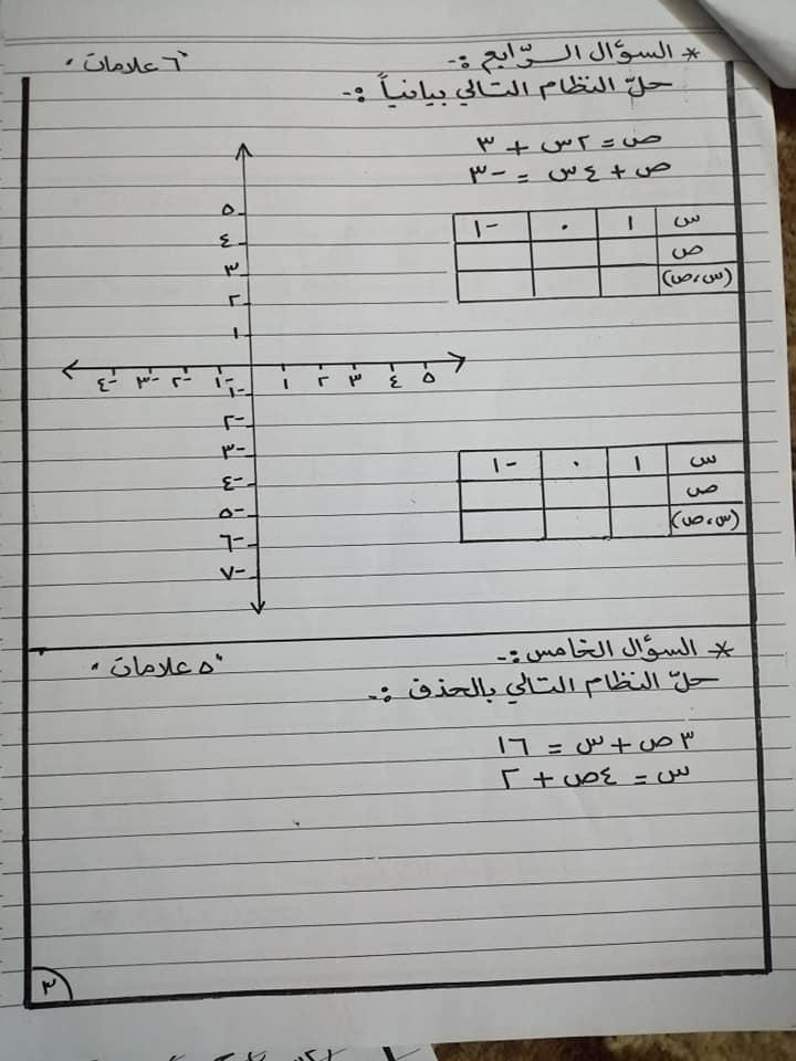 بالصور امتحان رياضيات الشهر الاول للصف الثامن الفصل الثاني 2020