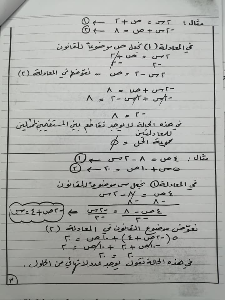 بالصور شرح درس حل معادلتين خطيتين بالتعويض للصف الثامن الفصل الثاني 2020